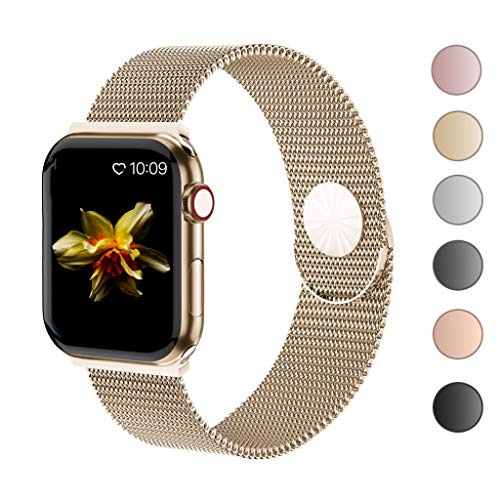 Cocos Compatible with Apple Watch Band 38mm 40mm 42mm 44mm,Stainless Steel Mesh Loop for iWatch Bands Women Men Series 4 3 2 1