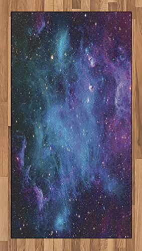 Ambesonne Outer Space Area Rug, Galaxy Stars in Space Celestial Astronomic Planets in The Universe Milky Way, Flat Woven Accent Rug for Living Room Bedroom Dining Room, 2.6' x 5', Navy Purple