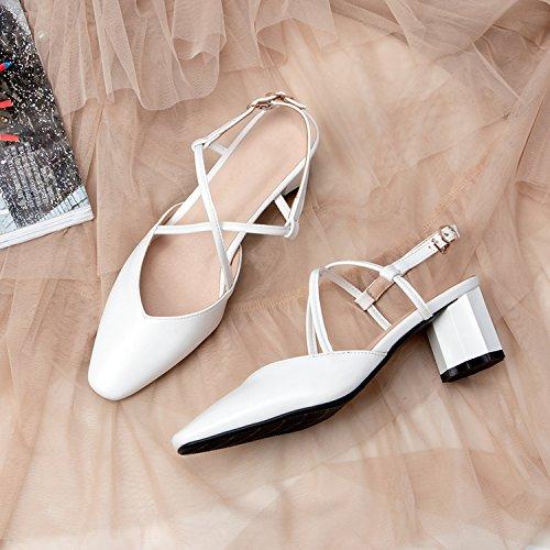 gaolim Baotouサンダルメス夏粗いwith the high-heel靴、万能クロスストラップバックルレディース靴 B07CKWZWHZ