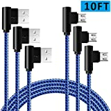 Extra Long Phone Charger Android 10FT 90 Degree Micro USB Cable 3 Pack Fast Charging and Syncing Cord For Samsung Galaxy S7 S6,Note,LG,Nexus,PS4(Blue Black,10ft)