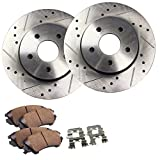 #10: Detroit Axle - (2) 5-Lug Drilled and Slotted Front Disc Brake Rotors and (2) Ceramic Brake Pads w/Clips Hardware Kit - 2.2L Cobalt & G5 w/rear Drum Brakes