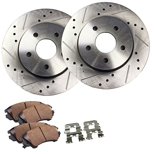 Detroit Axle - 302MM Drilled & Slotted Front Brake Rotor Set & Brake Pads w/Clips Hardware Kit Premium GRADE for 08-10 Chrysler Town & Country - [08-10 Dodge Grand Caravan/Journey] - 09-10 VW Routan