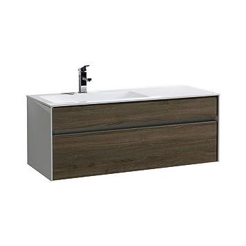 Fitto 48 Havana Oak Wall Mount Modern Bathroom Vanity Single Sink