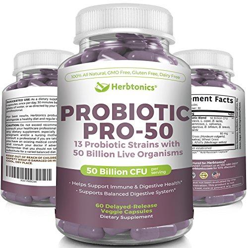 Probiotics 50 Billion CFU Extended Release 13 Probiotics Strains Pro-50 - Digestion Support Supplement, No Refrigeration Probiotics for Women and Men
