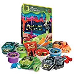 Explore the Squishy, Stretchy, Slippery, Magnetic side of Science with National Geographic!The Mega Slime & Putty Lab contains eight amazing varieties of slime and putty plus cool accessories. What makes putty so stretchable?Why does slim...