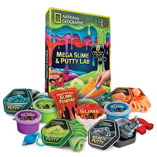 National Geographic Mega Slime & Putty Lab - 4 Types of Amazing Slime + 4 Types of Stretchable Putty Including Magnetic Putty, Fluffy Slime and Glow-in-The-Dark -
