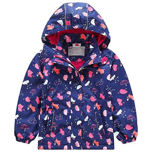 Waterdichte jas voor meisjes, overgangsjas, regenjas met fleecevoering, kinderen, schattig cartoon, warm, winddicht…