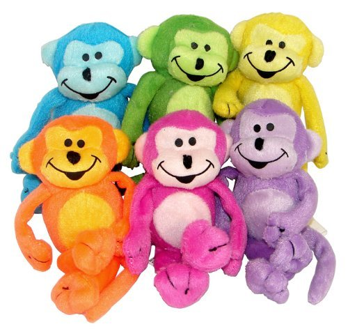 Plush Neon Bean Bag Monkeys