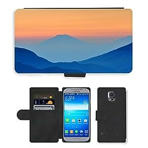 CARD POCKET BOOK CASE PU LEATHER CASE // M00421350 Montañas Verdes colinas de la gama // Samsung Galaxy S5 S V SV i9600 (Not Fits S5 ACTIVE)