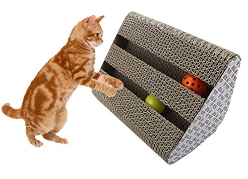 Cat Toys Corrugated Paper Scratcher with Catnip Lounge Handmade Kitten Scratching Post Interactive Toy for Cat Training (L)