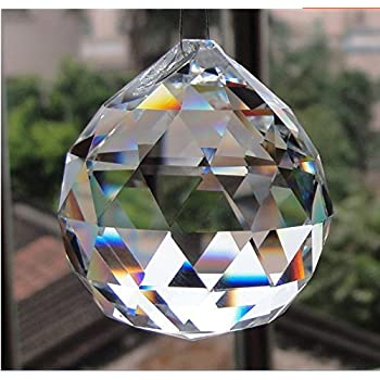 Jabux 40mm Clear Crystal Ball Prisms Pendant Feng Shui Hanging Faceted Prism Balls (Transparent)