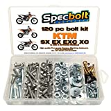 120pc Specbolt KTM SX EX EXC 2 or 4 Stroke models Bolt Kit for Maintenance & Restoration of MX Dirtbike OEM Spec Fastener. This includes 2 STROKES: 50 60 65 85 105 125 250 300 360 380 550 AND 4 STROKES: 250 350 400 450 500 520 525 530 620 640