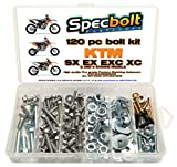 120pc Specbolt KTM SX EX EXC Bolt Kit for Maintenance MX Dirtbike OEM Spec Fastener. This includes 2 STROKES: 50 60 65 85 105 125 250 300 360 380 550 4 STROKES: 250 350 400 450 500 520 525 530 620 640