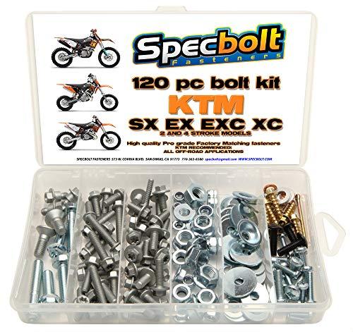 120pc Specbolt Bolt Kit fits: KTM SX EX EXC MX Dirtbike OEM Spec Fastener. This Includes 2 Strokes: 50 60 65 85 105 125 250 300 360 380 550 4 Strokes: 250 350 400 450 500 520 525 530 620 640 ()