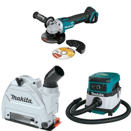 Makita XAG09Z 18V LXT Brushless 4-1/2-Inch - 5-Inch Cut-Off/Angle Grinder, 196846-1 Dust Extraction Tuck Point Guard, XCV04Z 18V X2 LXT (36V) 2.1 Gallon HEPA Filter Dry Dust Extractor/Vacuum