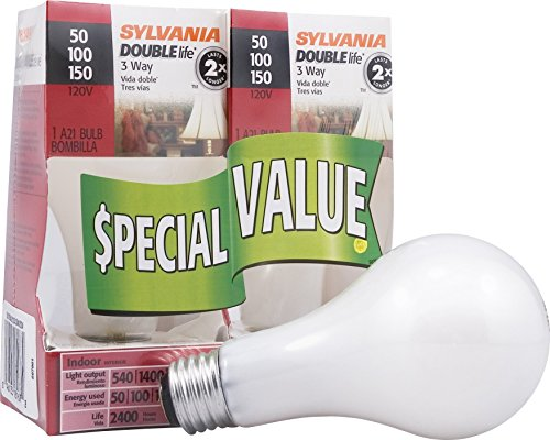 50w Double Life - Sylvania Home Lighting 18167 Incandescnet 3-Way Bulb, A21-50W/100W/150W-2850K, Double Life, Soft White Finish, Medium Base, Pack of 2