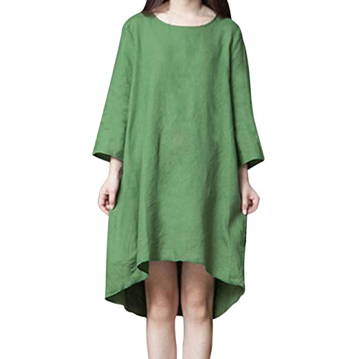 19a6bd91ee Amazon.com  Fashion Women Solid O-Neck Long Sleeve Linen Cotton Loose Knee-Length  Dress  Clothing