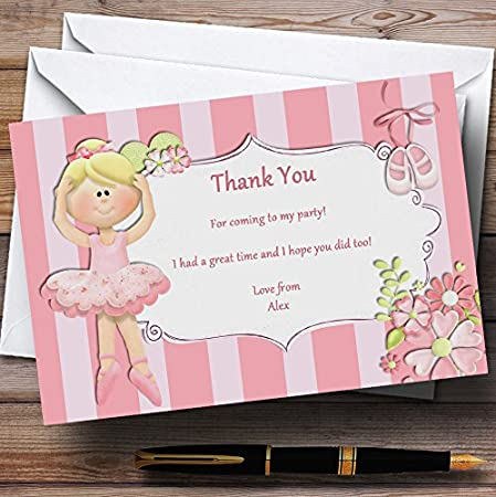 Pink Ballerina Ballet Personalized Birthday Party Thank You Cards