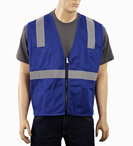 Illuminated Safety Vest - Safety Depot Mesh Reflective Safety Vest With Zipper and Pockets Hi Vis, Light Weight MSD1000 (Royal Blue, 3XL)