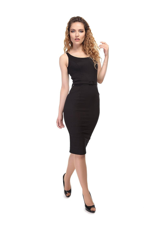 0e743be60d Collectif Vintage Ines Plain Pencil Dress 20 Black  Amazon.co.uk  Clothing
