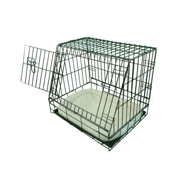 Ellie-Bo Deluxe Sloping Puppy Cage Folding Dog Crate with Non-Chew Metal Tray Fleece and Slanted Front for Car 2