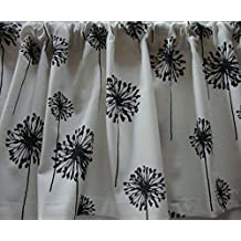 Valance Black and White Dandelion Floral Pattern Window Treatment Custom Made Decorator Fabric