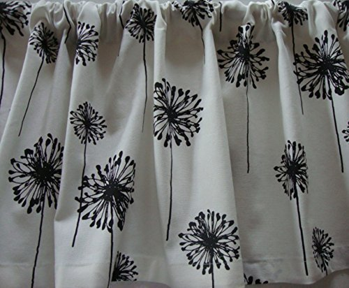 Check Decorator Fabric (Valance Black and White Dandelion Floral Pattern Window Treatment Custom Made Decorator Fabric)