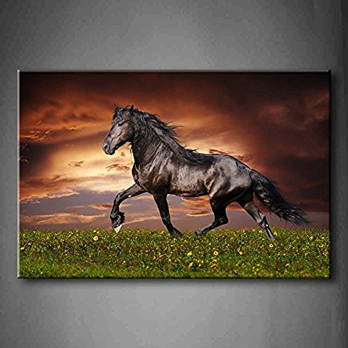 Modern Canvas Black Friesian Running Horse Trot On The Field On Sunset Grass And Flower Wall Art Painting Pictures Print On Canvas Animal Picture For Bedroom (Paintings Of Horses Running On The Beach)