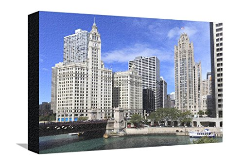 Wrigley Building and Tribune Tower, across Chicago River to N Michigan Ave, Chicago, Illinois, USA Stretched Canvas Print by Amanda Hall - 18 x 12 - Michigan And Ave Chicago