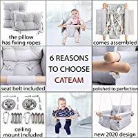 Baby Hammock Chair Birthday Gift. Cateam Canvas Baby Hammock Swing Grey Wooden Hanging Swing Seat Chair for Baby with Safety Belt and mounting Hardware