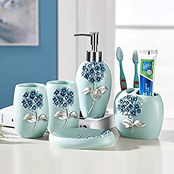 Charmant Resin Bathroom Accessories Set, 5 Piece Bath Ensemble, Bath Set Collection  Features Soap Dispenser