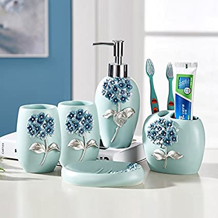 Resin Bathroom Accessories Set, 5 Piece Bath Ensemble, Bath Set Collection Features Soap Dispenser Pump, Toothbrush Holder, Tumbler, Soap Dish