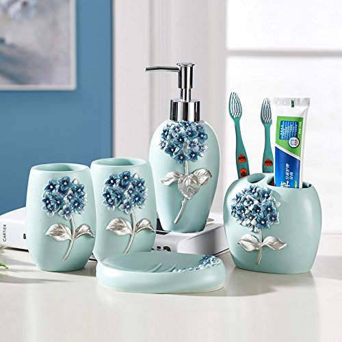 Resin Bathroom Accessories Set, 5 Piece Bath Ensemble, Bath Set Collection Features Soap Dispenser Pump, Toothbrush Holder, Tumbler, Soap - Complete Sets Bath
