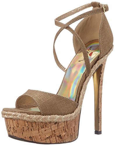 Luichiny Women's Le Andra Platform Sandal, Gold, 9 M US -