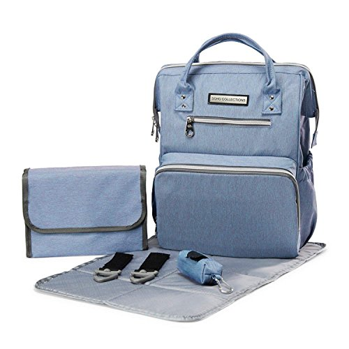 Multifunction Travel Organizer with Stroller Straps USB Charging Port Gray CAMIRUS Large Capacity Waterproof Mommy Nappy Bag for Women Toddler Newborn Baby Diaper Bag Backpack Changing Pad