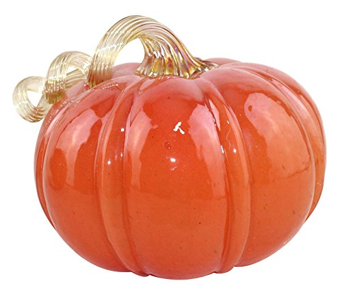 Starland Shiny Hand blown Art Glass Pumpkin Table Accent Home Decoration For Fall & Harvest, Halloween, Thanksgiving Decorating,Orange,5.9 Inch Height ()