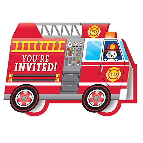 Party Central Club Pack of 48 Red and White Flaming Fire Truck Die-Cut Fold-Over Invitation 5