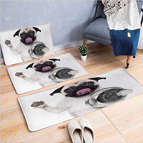 (3 Piece Non-Slip Doormat 3d print for Door mat living room kitchen absorbent kitchen mat,Licking Its Lips Hunger Image Raising Its Hand,15.7
