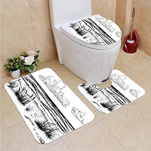 (3 Sets of Bathroom Home, Bathroom Carpet + Contour pad + lid Toilet seat,Ocean or sea Beach with Waves Sketch, Flannel)