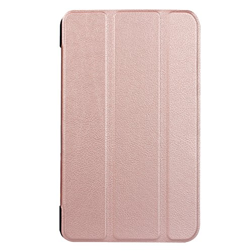 ElekFX Case for au Qua QZ8 Table Tri-Fold Lightweight Smart Cover with Auto Sleep/Wake, with 2pcs Protective Films - Rose Gold by ElekFX