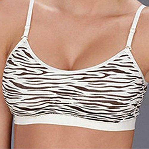 Coobie Womens Strappy Scoopneck Bra,One Size,Zebra BW