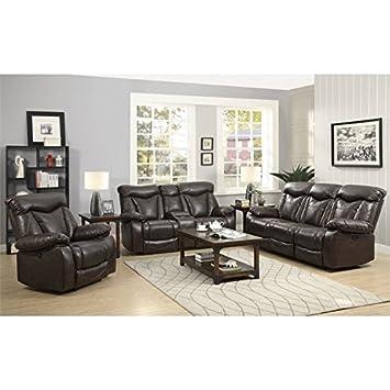 Coaster Zimmerman Leather Power Reclining Sofa Set In Dark Brown