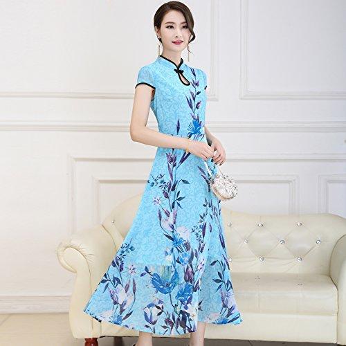 XIU*RONG Imprimir Vestir Mujer Nieve Verano Hilados Falda Falda Péndulo Grande Edad Media Falda Madre Blue