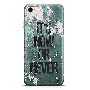 Loud Universe iPhone 8 Case Its Now Or Never Grunge Pattern Print Motivational Quote Low Profile Light Weight Wrap Around iPhone 8 Cover