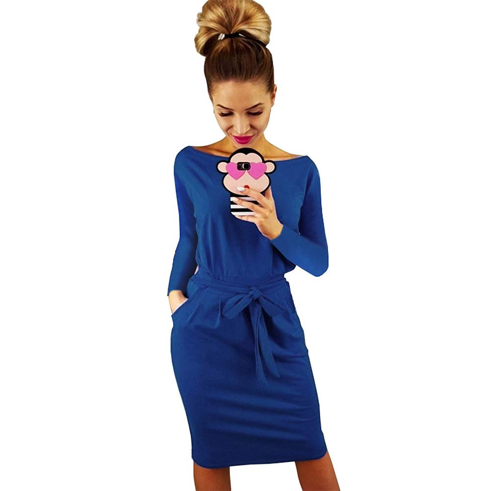 bluee Vocar Women's Long Sleeve Bodycon Dress ONeck Club Wear Belted Dress with Pockets