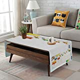 Chinese Drum Coffee Table iPrint Linen Blend Tablecloth,Side Pocket Design,Rectangular Coffee Table Pad,Lantern,Fairy Trees and Floral Branches Chinese Lanterns Good Luck Peace Holiday,Orange Yellow Blue,for Home Decor