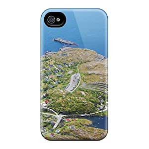 Premium Durable Coastal Village In Norway From Up High Fashion Tpu Iphone 4/4s Protective Case Cover