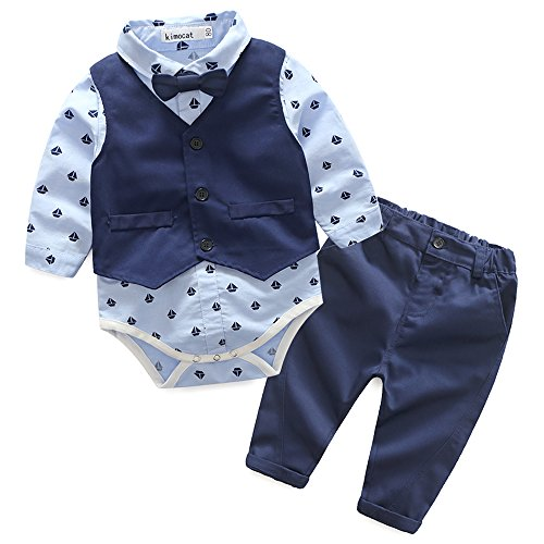 Baby Boy Suit, Toddler Long Sleeve Romper Vest Pants Jumpsuit Overalls Outfits with Bow tie (100(2-3 Years), Blue) (Bonds Baby Bodysuits)
