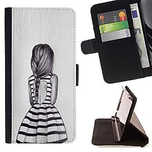 BullDog Case - FOR/Apple Iphone 4 / 4S / - / dress summer girl ponytail design fashion /- Monedero de cuero de la PU Llevar cubierta de la caja con el ID Credit Card Slots Flip funda de cuer