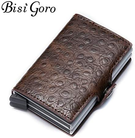Gimax Card /& ID Holders Color: Red 158 Bisi Goro 2019 RFID Credit Card Holder Aluminium Double Box Fashion Men and Women Metal Vintage Travel Card Wallet